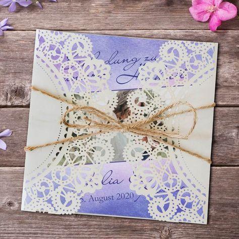 "Hochzeitseinladung Vintagezauber ""Aquarell Lila"