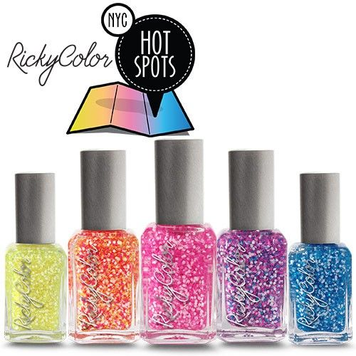 RickyColor HOT SPOTS Nail Polish Collection. Brand new exclusive from Ricky's NYC! Mix and match your faves or snag the entire collex! Includes (left to right): Off Duty, Sunday Morning in Murray Hill, Governor's Island Circus, Sample Sale Line, Central Park Boat Basin.