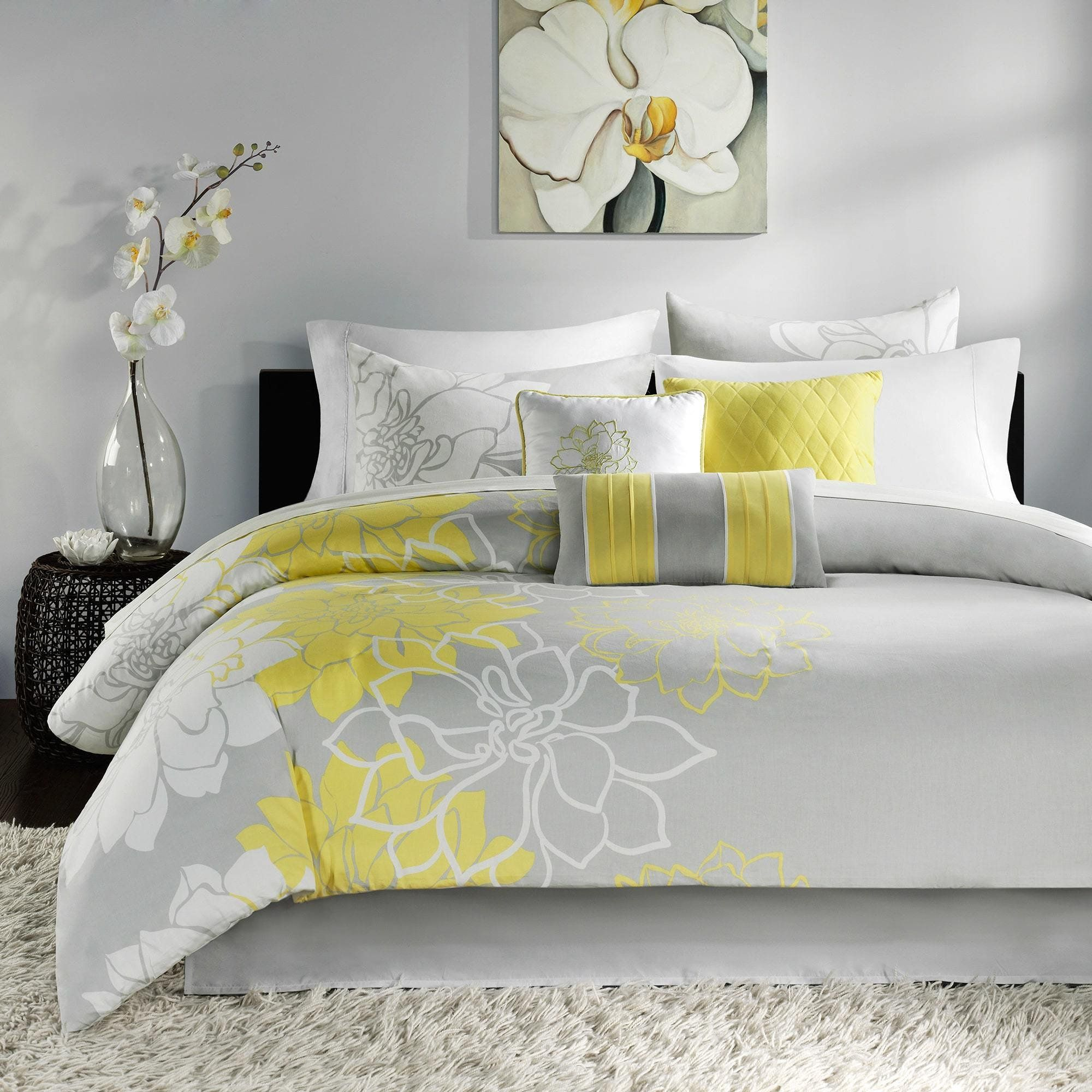 7 Piece Yellow Floral King Size Comforter SetBeautiful Grey