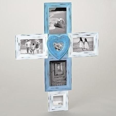 2675 Weather Finished Blue And White Photo Picture Frame Cross