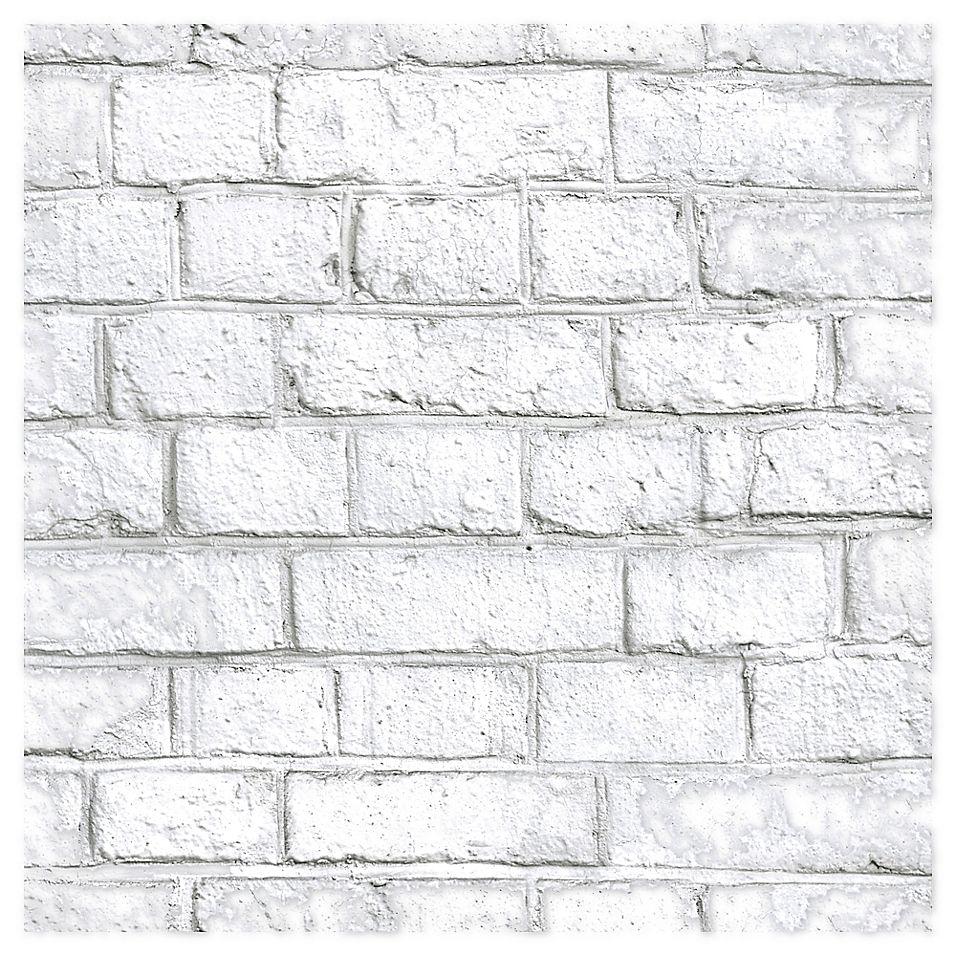 Roommates Brick Peel Stick Wallpaper In White Bed Bath Beyond White Brick Wallpaper White Wash Brick Removable Brick Wallpaper