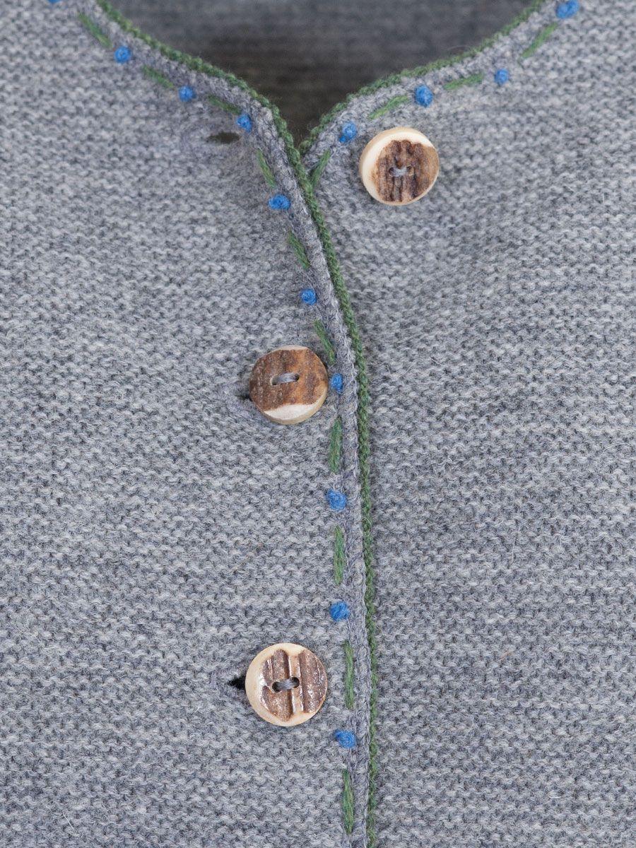Boos Strickjacke grau, Abschlüsse blau und grün