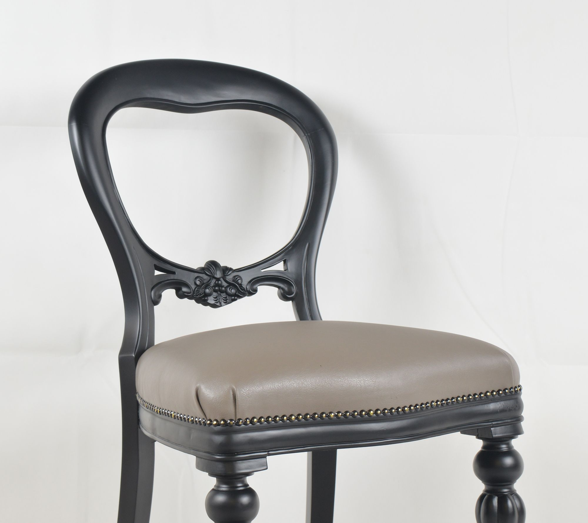 Black upholstered dining chairs - Traditional Victorian Dining Chair Painted In Black And Upholstered In Faux Leather Available At Www