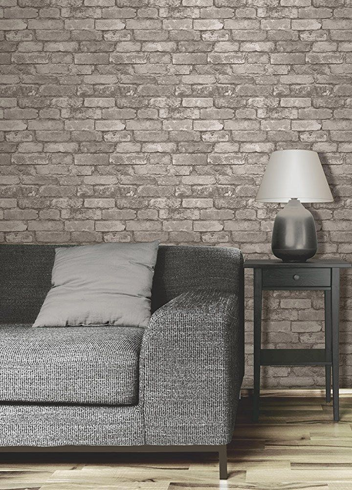 This realistic vinyl wall brick wallpaper simulates the for Brick effect wallpaper living room ideas