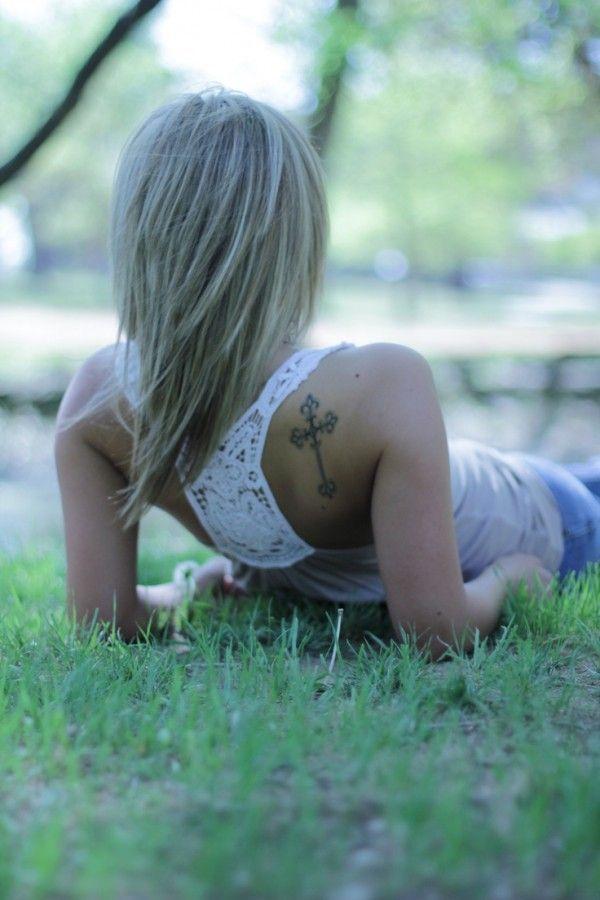 Small Size Tattoo Designs: Celtic Medium-sized Cross Tattoo On Back Shoulder