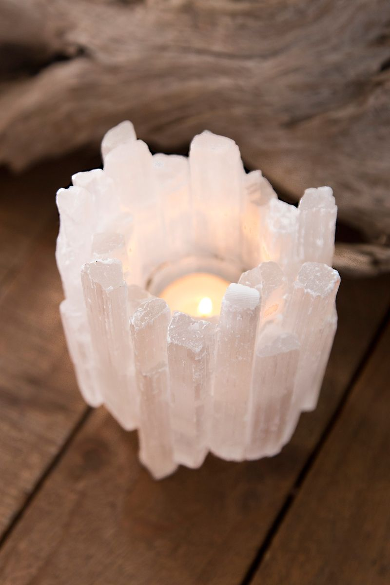 Selenite Points Candle Holder Candles Crystal Decor Crystal Crafts