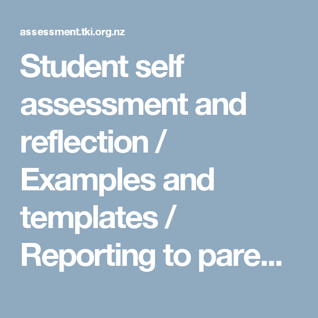 Student Self Assessment And Reflection  Examples And Templates