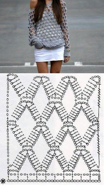 Blusa diamante | Crochet | Pinterest | Diamantes, Blusas y Tejido