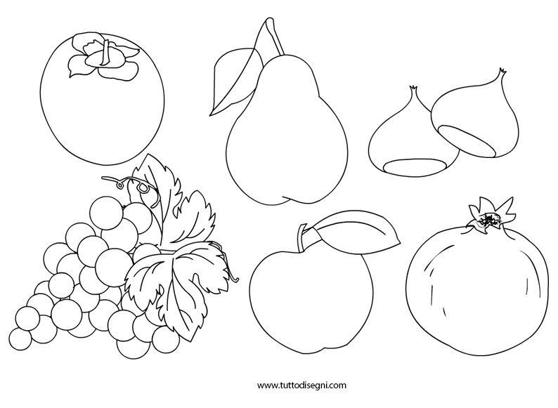 Frutta autunno disegni schede didattiche pinterest for Frutta da colorare e ritagliare