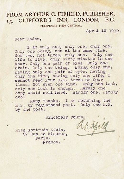 Rejection letter from Gertrude Stein The English Language Pinterest - rejection letter sample