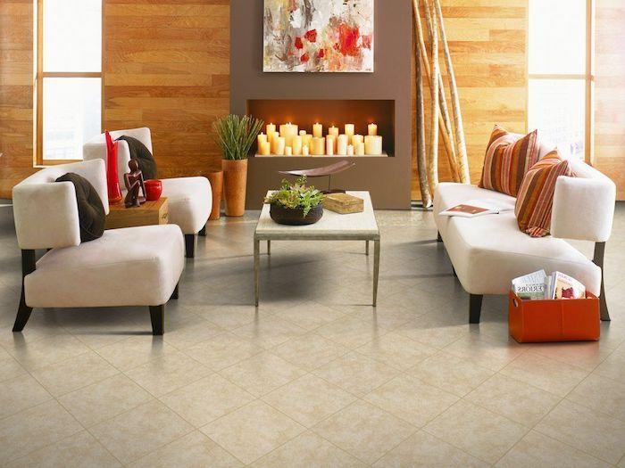 fliesen im wohnzimmer, design fußboden, ein sofa und zwei sessel ... - Sessel Wohnzimmer Design