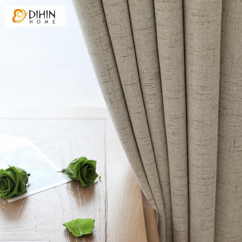 Dihin Home Modern Cotton Linen Full Blackout Curtains Blackout