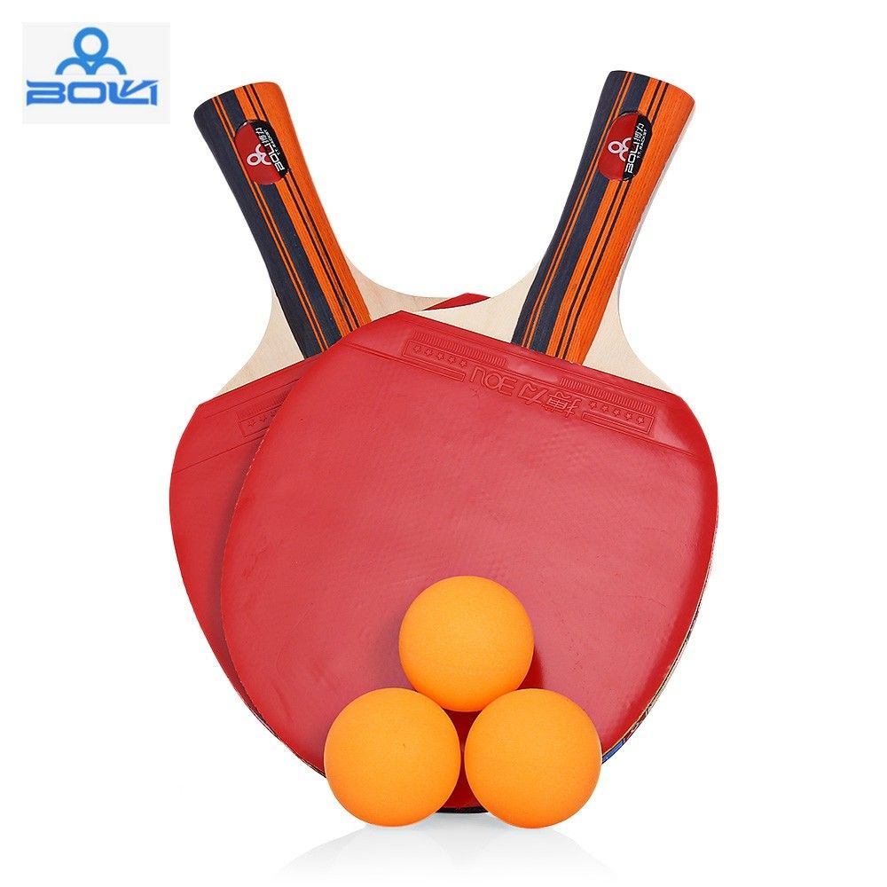 Boli A09 2pcs Set Table Tennis Ping Pong Racket With Ball Red 3w29706612 Size Long Handle Shake Hand Grip Table Tennis Rackets Ping Pong