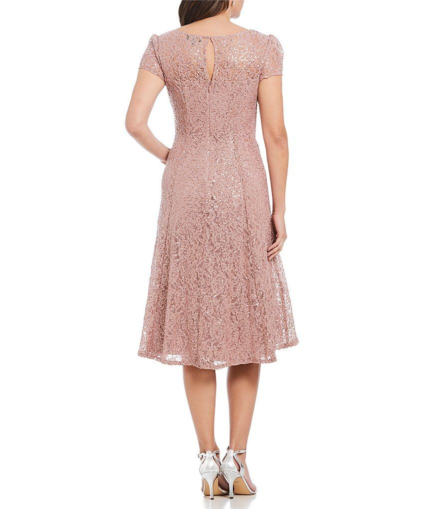 13620474959 Ignite Evenings Cap Sleeve Sequin Lace Midi Dress Cap