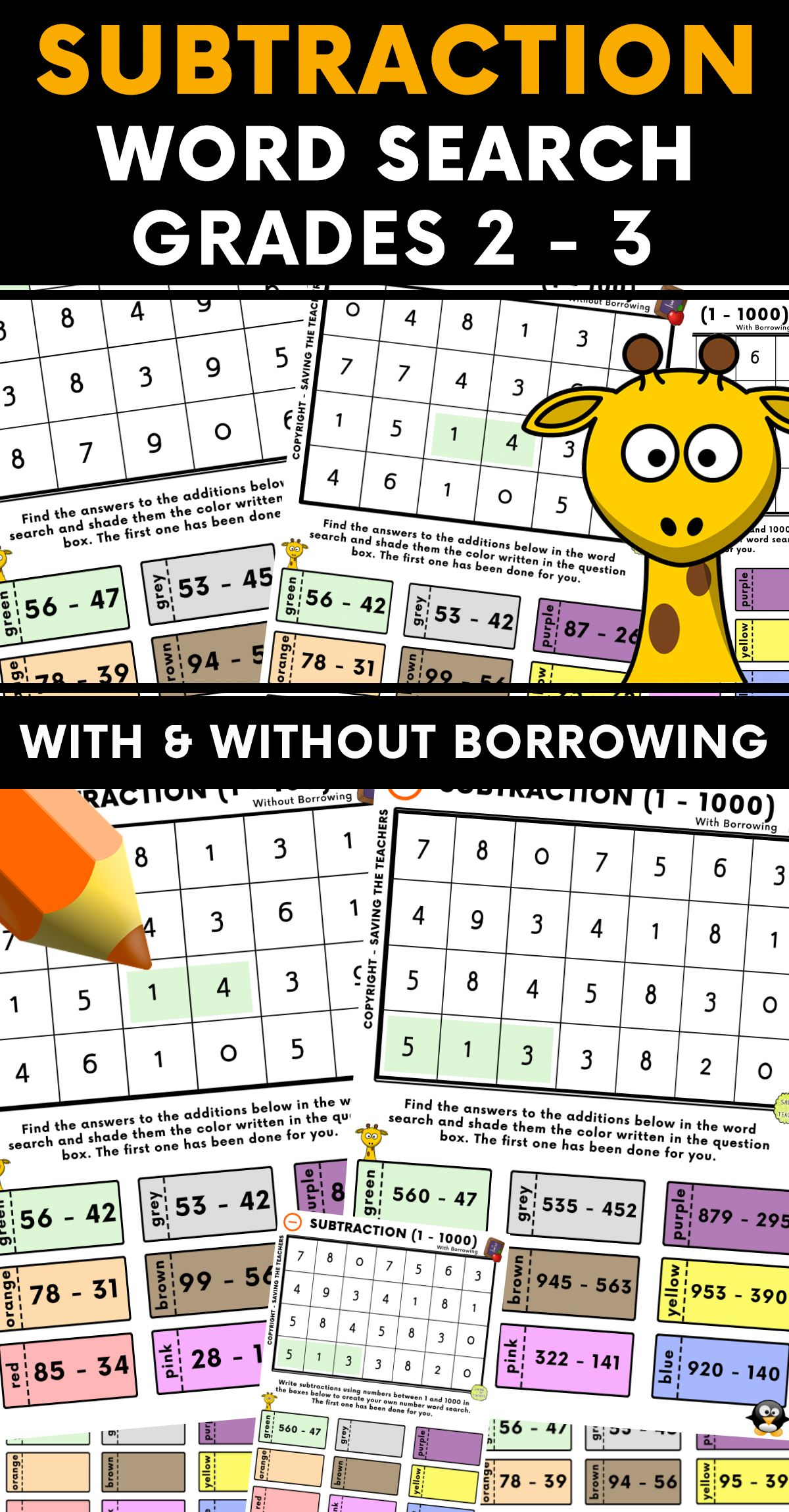 Subtraction Number Word Search Activity Grades 2