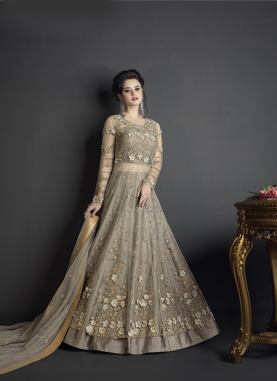 Indian latest designer grey color net semi stiiched salwar suit