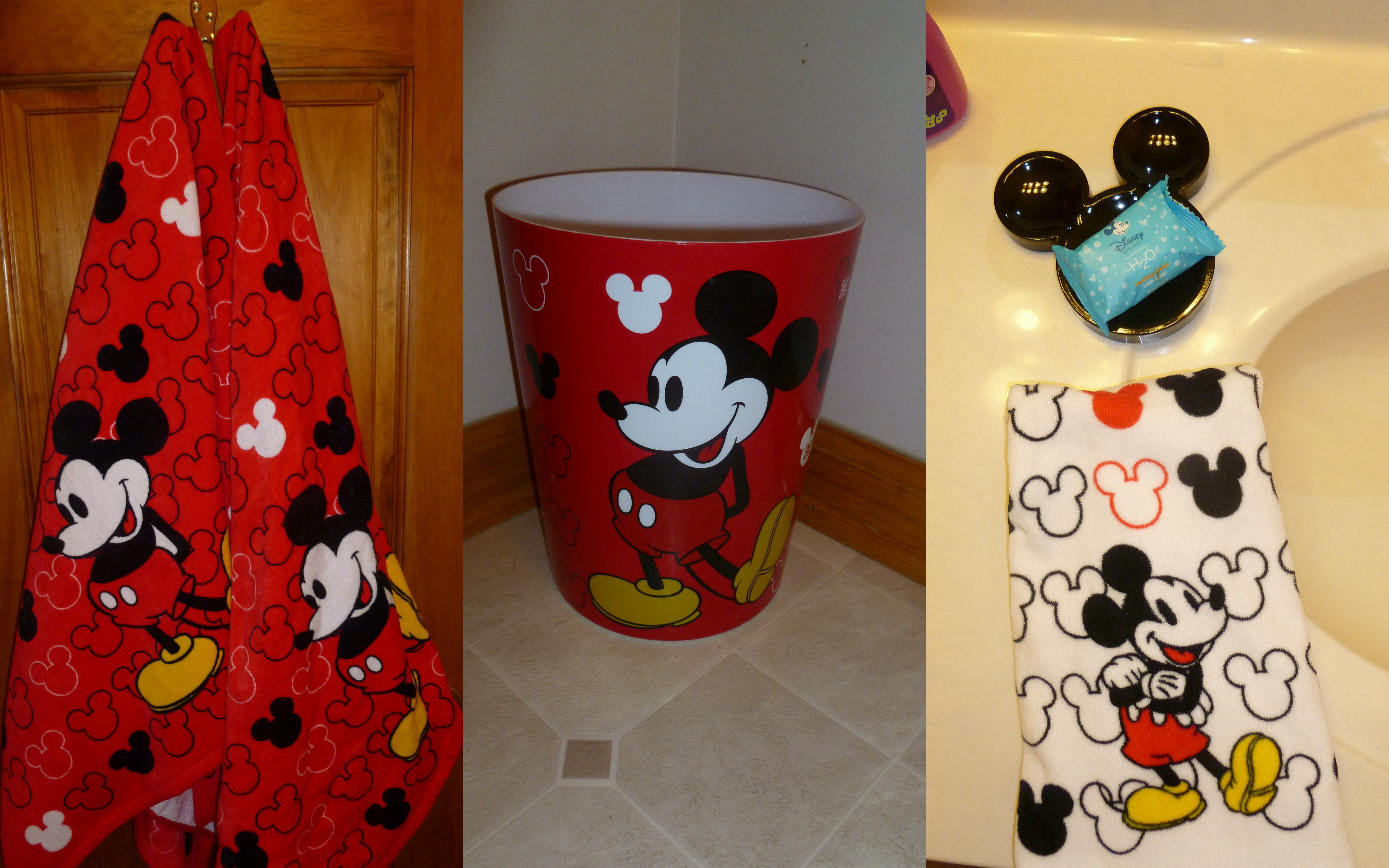 Mickey Mouse bath towels, hand towels, soap dish and waste