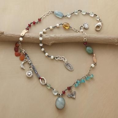 FREE SPIRIT NECKLACE   Jes MaHarry -carnelian, apatite, citrine, spinel chalcedony, cultured pearls,sterling silver charms. Aquamarine pendant   Sundance catalog