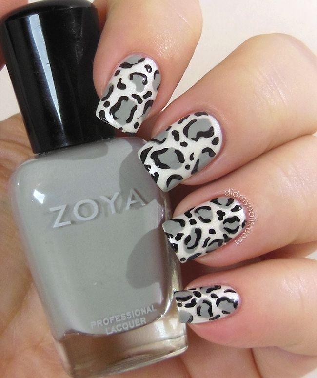 snow leopard nail art animal