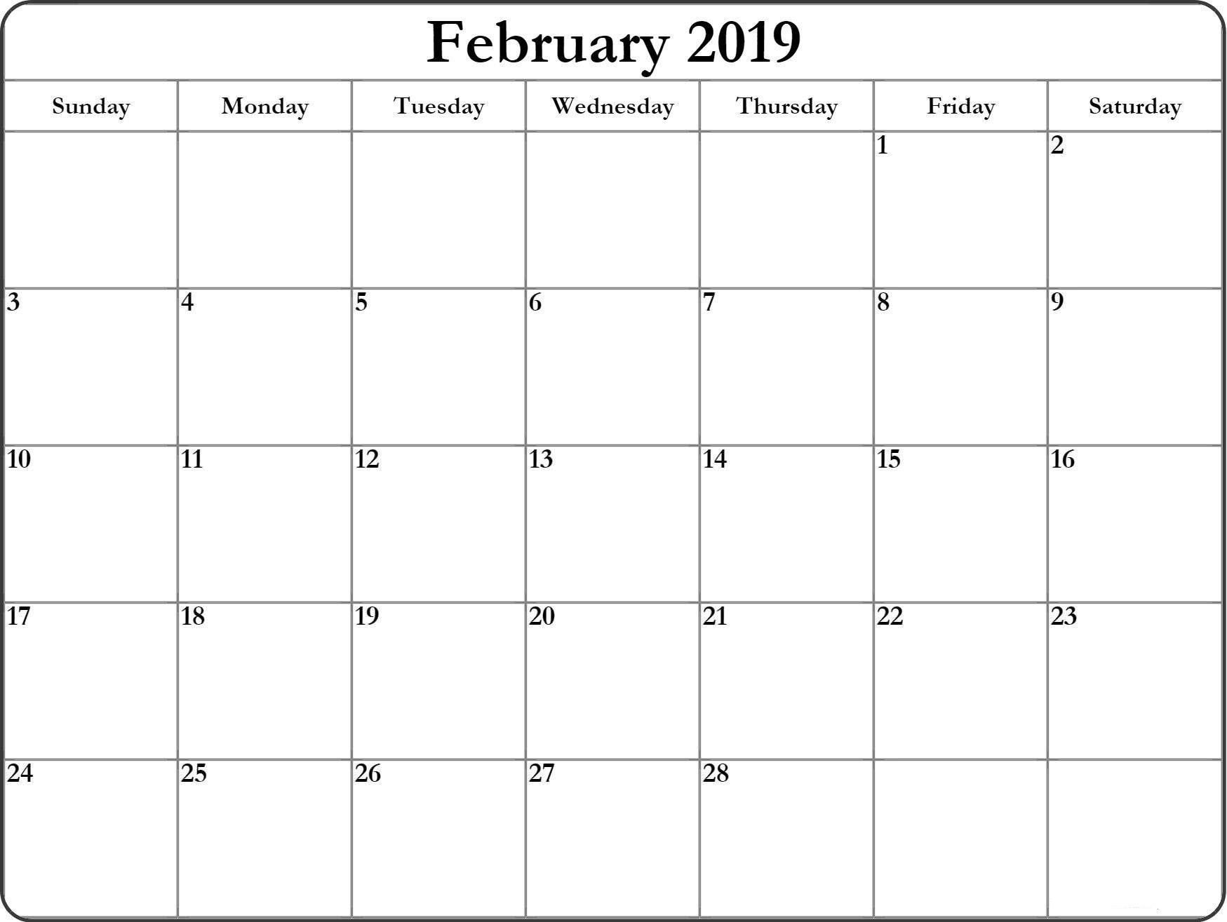 Print-A-Calendar February 2019 February 2019 Printable Calendar | February 2019 Calendar