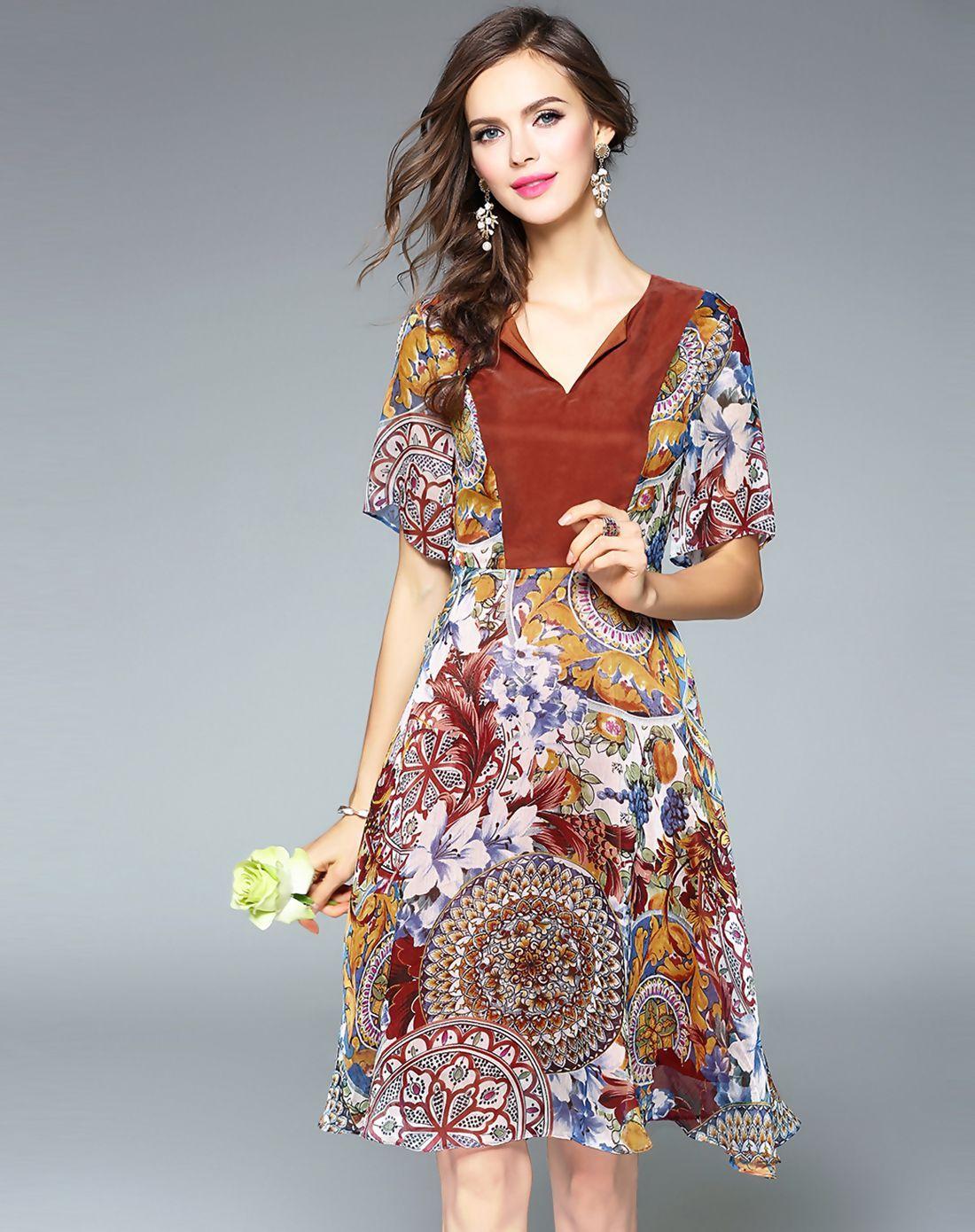 #AdoreWe #VIPme A-Line Dresses❤️Designer Fantiow Brown Floral Print Elegant A-line Midi Dress - AdoreWe.com