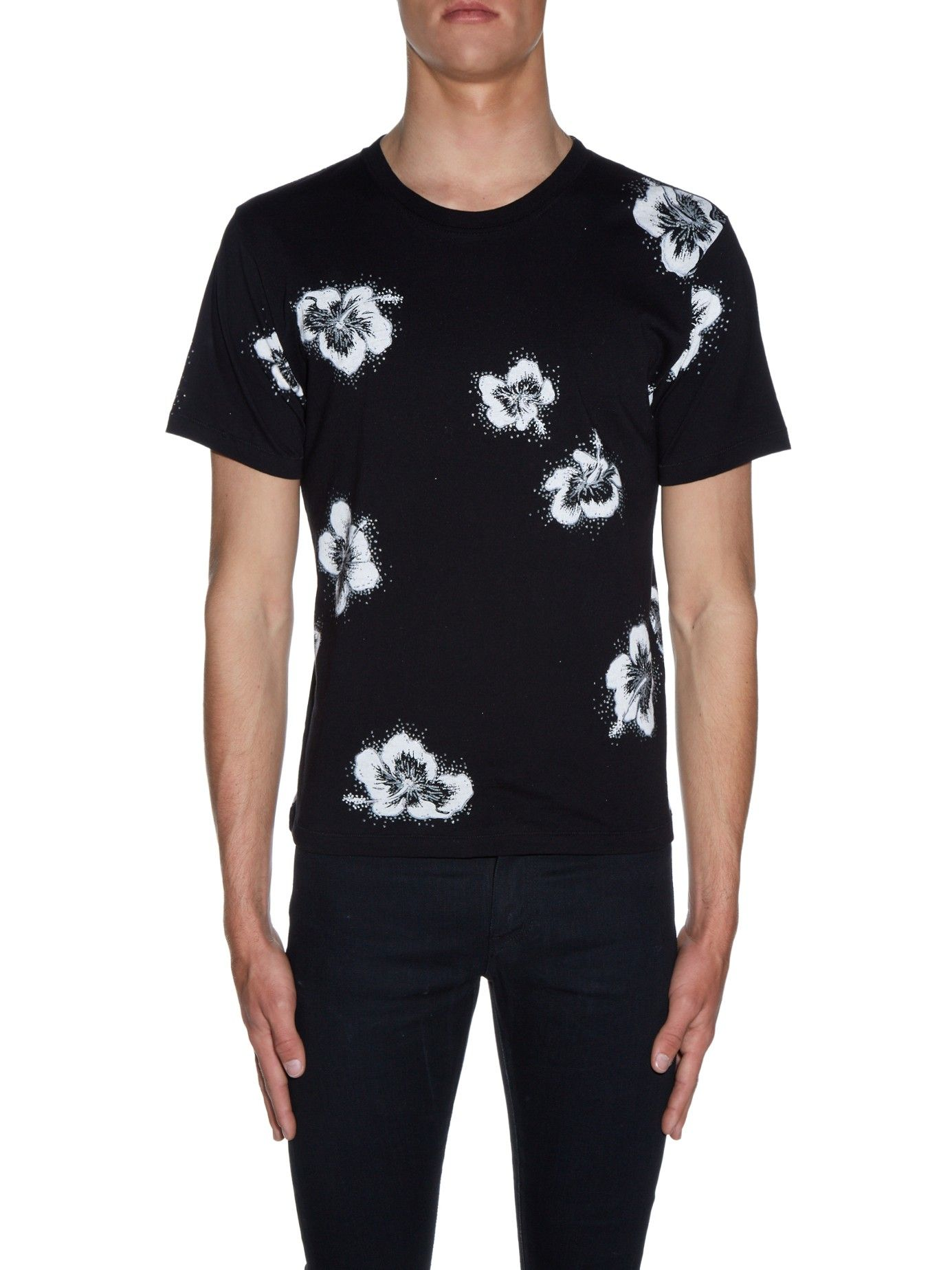 SAINT LAURENT Hibiscus-print crew-neck T-shirt €381