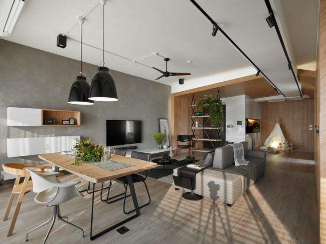 Wand in betonoptik holzverkleidung kombinieren stilvoll einrichten small room design family also rh pinterest