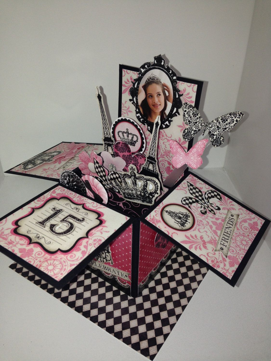 20 quince or sweet 16 invitations 3d pop up cards in a box by