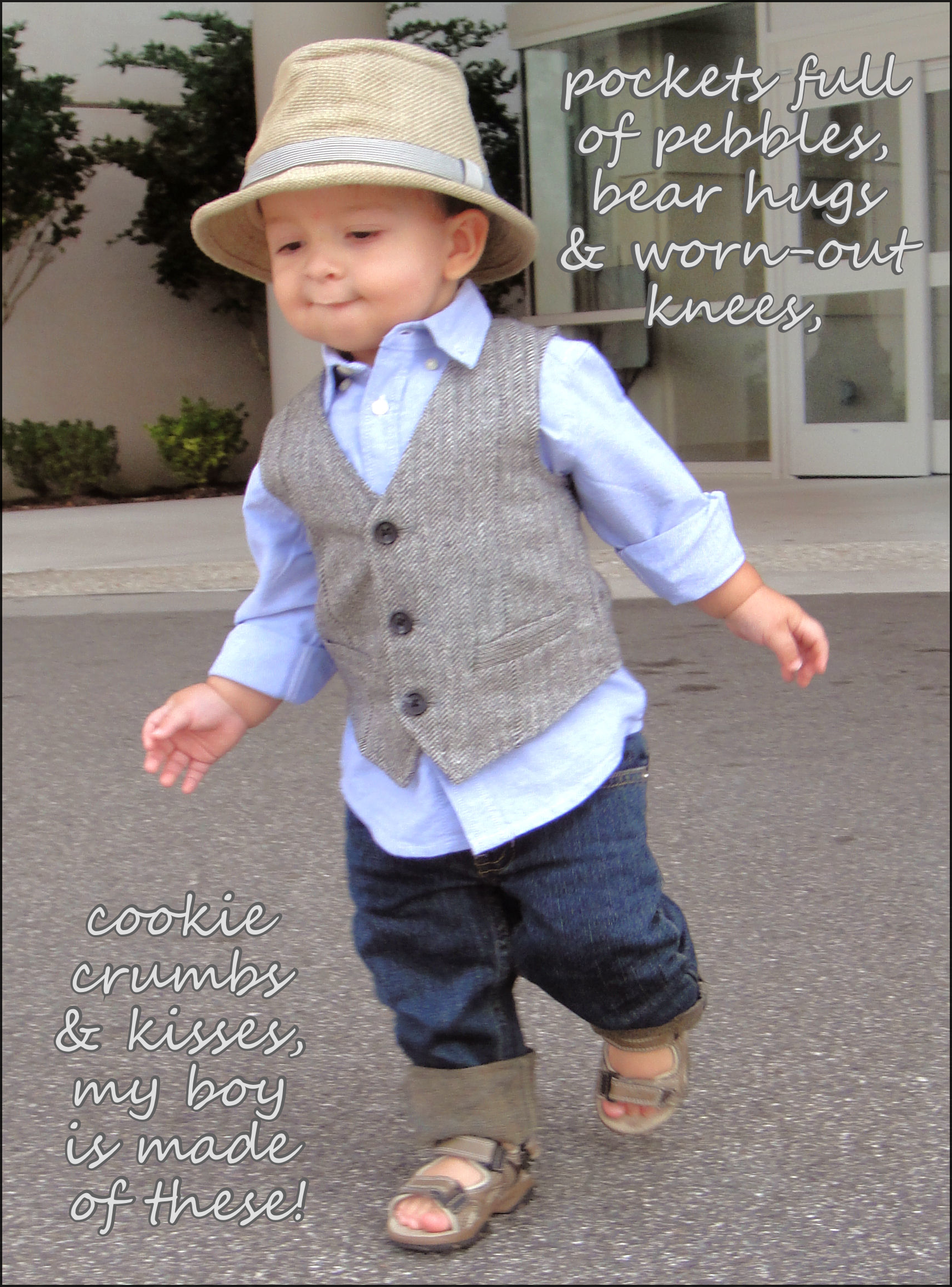darien son baby boy toddler outfit 1 year old fedora hat ...
