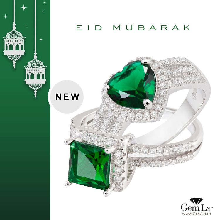 Check out GemLN India's latest collection of Sterling Silver Rings with green crystals & zircons.