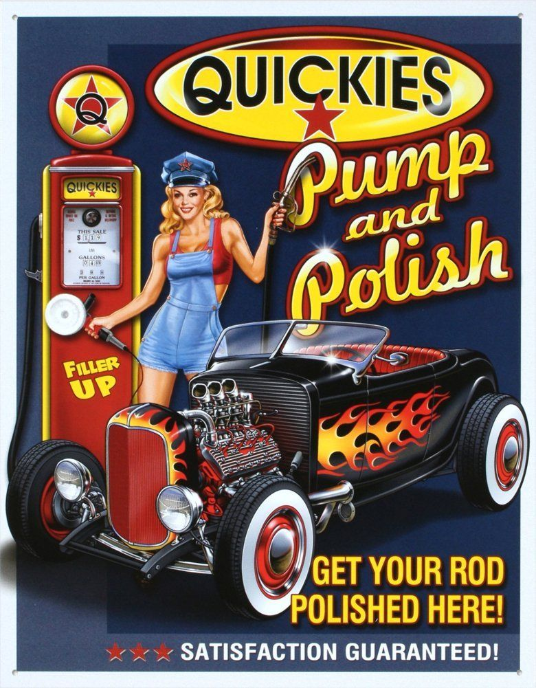 Quickies Pump and Polish Tin Sign 13 x 16in ** Click on the image for additional details.