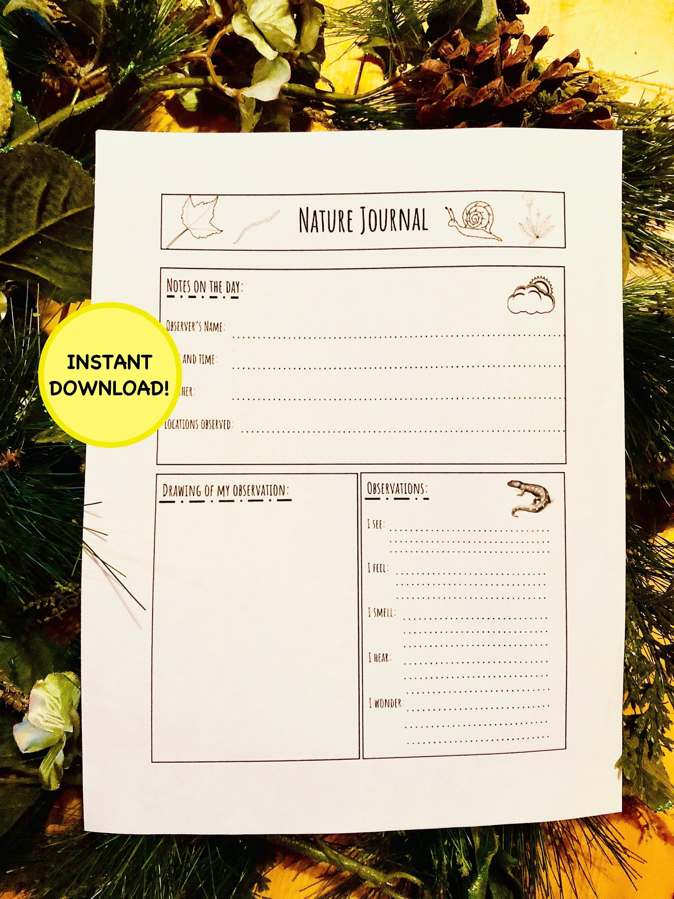 Nature Journal Worksheet For Kids Printable Instant