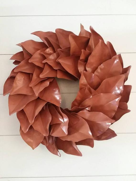 Photo of Free Ship -Orange painted magnolia wreath – real magnolia wreath- dried magnolia wreath – fall magnolia wreath