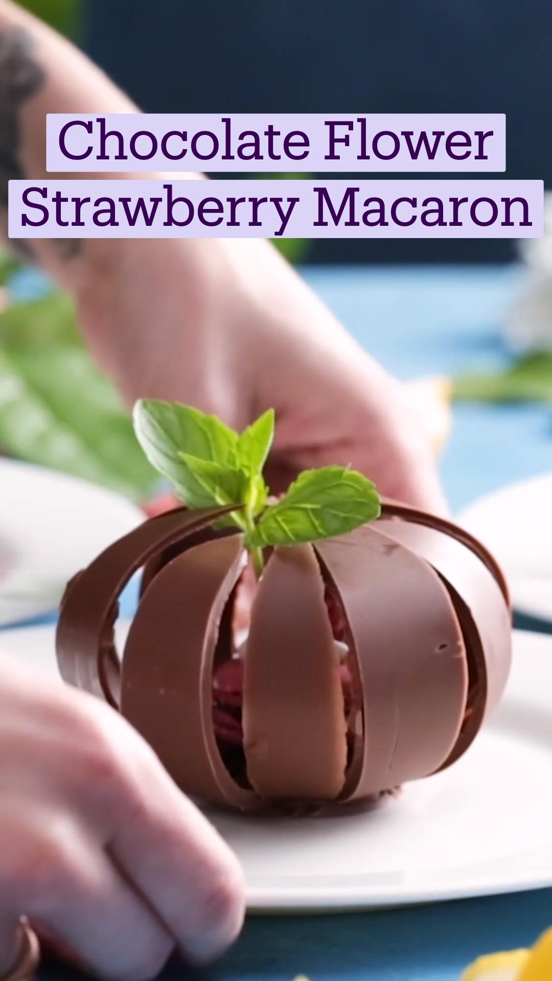 Chocolate Flower Strawberry Macaron