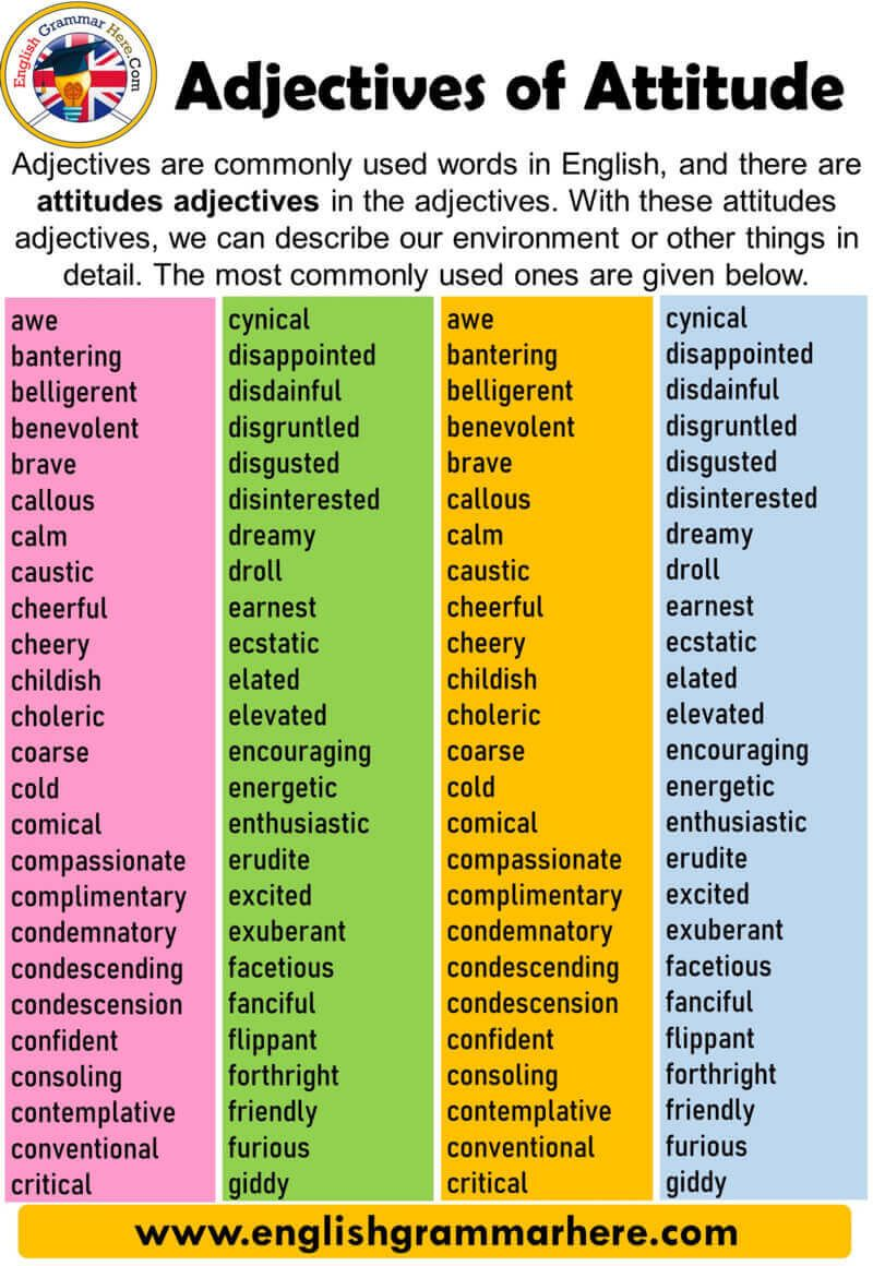 English Adjectives Of Attitude Definition And Examples All Words That Describe The Name Is Called Adjective English Adjectives Learn English Words Adjectives