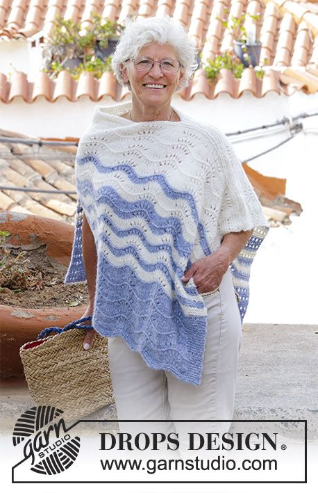 Vacation Bound Knitted Poncho With Wave Pattern And Stripes Sizes
