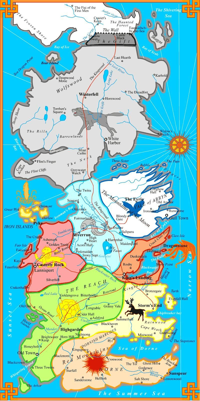 Map Of Westeros Westeros political map   Game of thrones | Game Of Thrones in 2019  Map Of Westeros