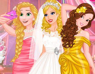 Game Barbies Wedding Selfie With Princesses Disney Princess Dress Up Disney Princess Wedding Disney Princess Wedding Dresses