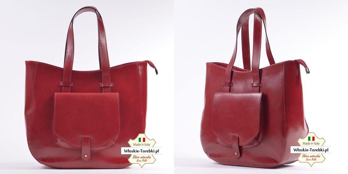 1a86064fe6eaf Duża czerwona torba damska ze skóry naturalnej - model Savina mieści A4.  Piękny odcień