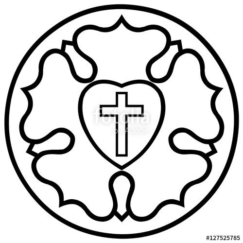 Vector Lutheran Rose Emblem Luther Seal Black And White Rose