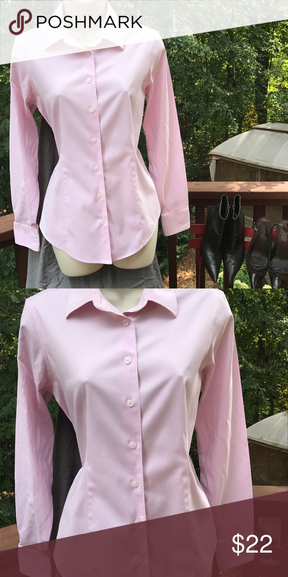 Pink Eddie Bauer Top EB Stretch Wrinkle Resistant Top