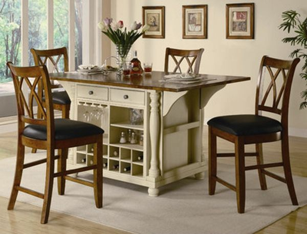 Portable Kitchen Island With Seating For 4 Kitchen Dinette Sets Kitchen Island Table Tall Kitchen Table