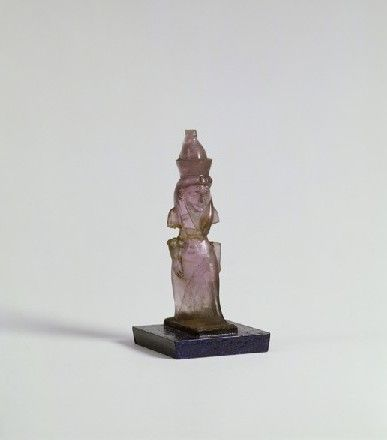 Statuette of the goddess Mut  (316)     Statuette of the goddess Mut. Egypt. New Kingdom, Dynasty XVIII, c. 1400 B.C. Amethyst. h 5.3 cm. Acquired 1951. Robert and Lisa Sainsbury Collection. UEA 316