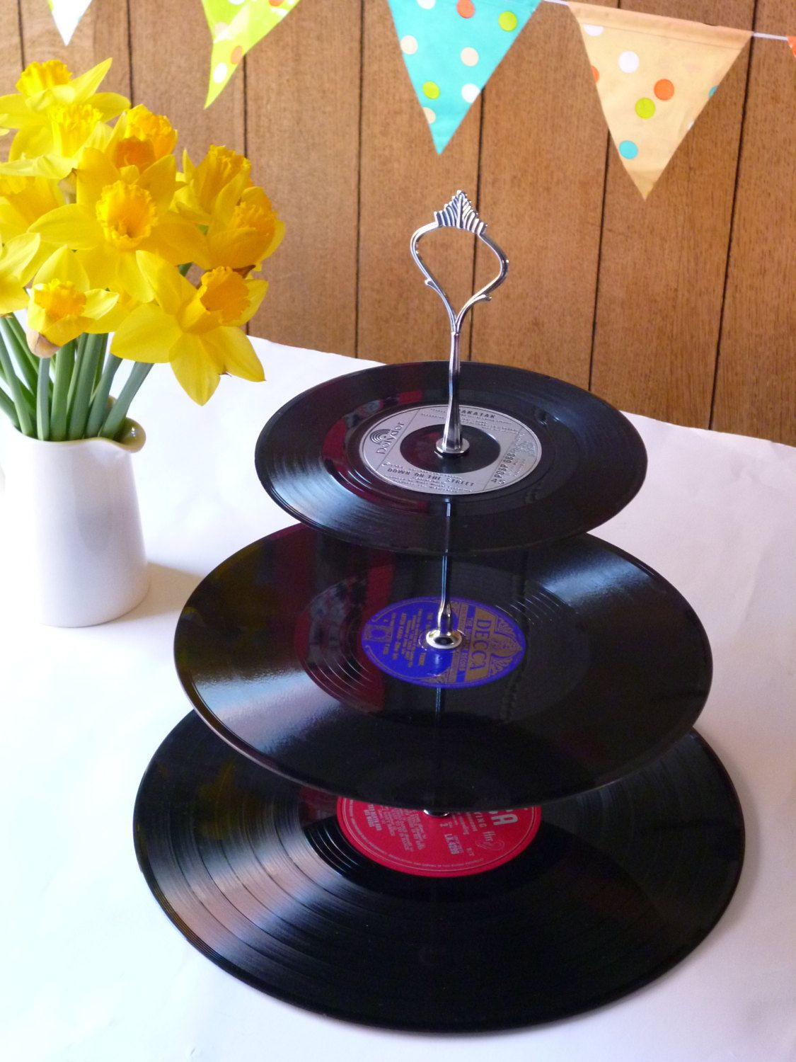 Wedding Party Cake Stand 3 Tier Vintage Vinyl Record Retro Celebration Server Easter Garden