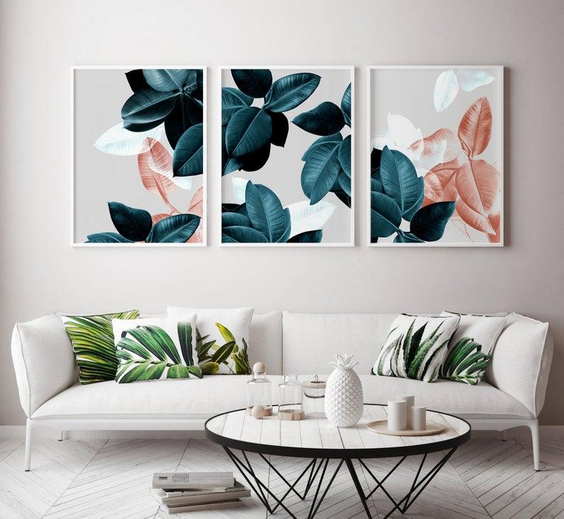 Abstract Print Set Of 3 Wall Art Modern Plant Prints Abstract Etsy In 2020 Matching Wall Art Modern Abstract Wall Art Artwork For Living Room