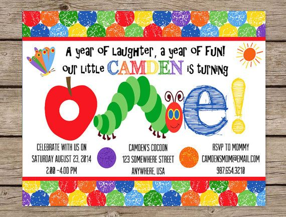 Very Hungry Caterpillar Invite First Birthday Invitation Birthday