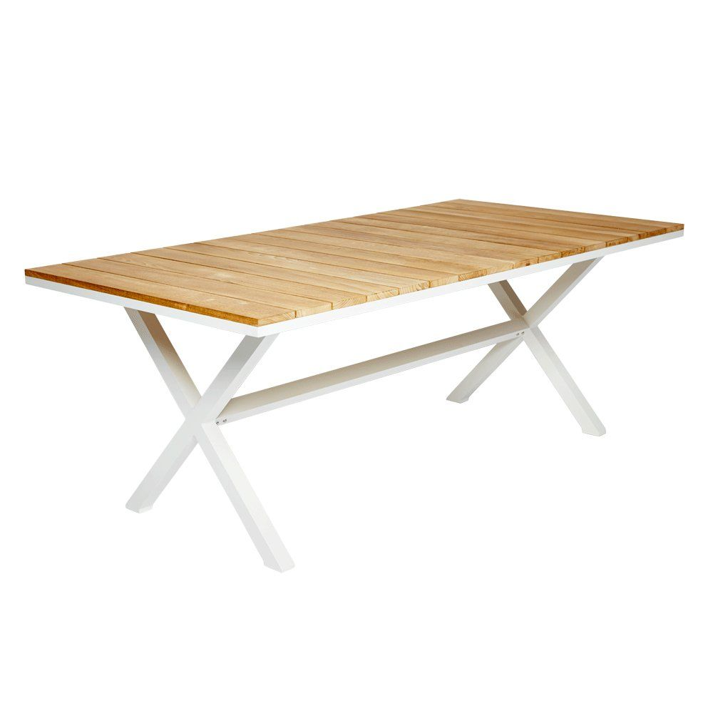Coast white cross leg dining table with wooden and timber teak slats from harbour outdoor - Crossed leg dining table ...