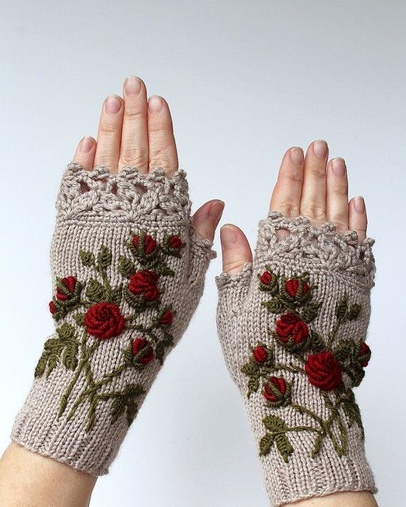 Knitted Fingerless Gloves, Roses, Beige, Clothing And Accessories ...