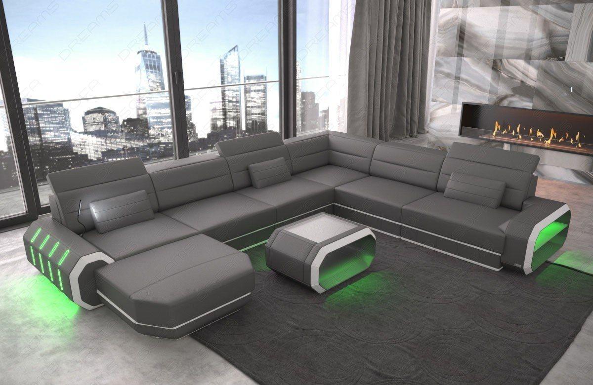 Leder Wohnlandschaft Roma Xl Grau Mit Beleuchtung Living Room Sofa Design Sectional Coffee Table Furniture