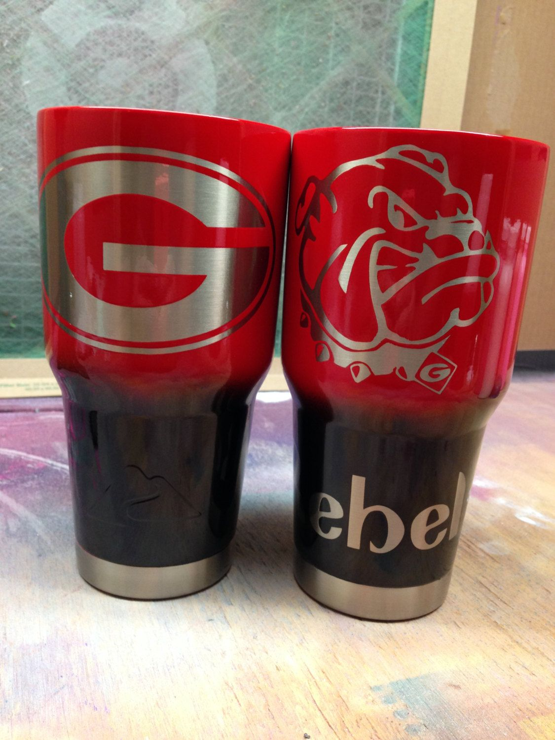 Custom Powder Coated Cups Tumblers Georgia Bulldogs By Rapitupdesigns On Etsy Powder Coated Cups Custom Tumblers Custom Yeti